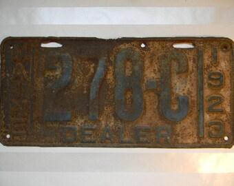 LICENSE PLATE, Antique 1923 Maine DEALER License Plate