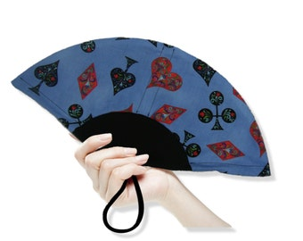 Washable Hand Held Fan Playing Card Suits - Traditional Style