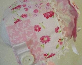Pink Flowers Bonnet and Bib Set
