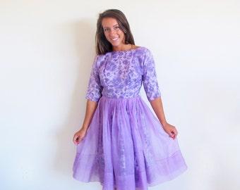 Vintage 50s lavender Dress, 1950 Tea Length Party Dress