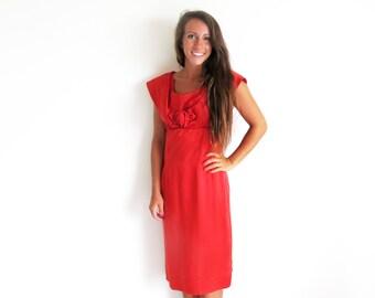 Vintage 50s Red Dress, 1950 Satin Dress, Empire waist Dress, Red Satin Dress
