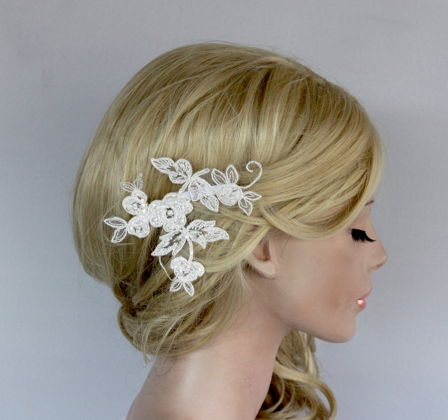 Floral Lace Headpiece For Wedding: Floral Applique Flower Hairpiece Bridal Lace Headpiece