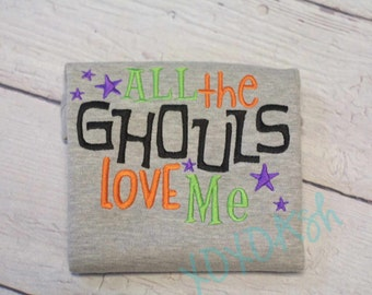 All the Ghouls Love Me Cute Boys Embroidered Halloween OnePiece Shirt or Bodysuit