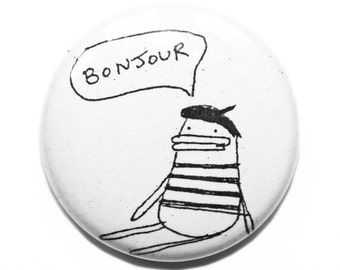 Birthday Gift Idea for Friend, Funny Badge Set, Bonjour Pin Button Pack, Quirky Gift Idea, Cute Black and White Pin Accessory, Poosac