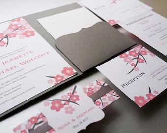 Cherry Blossom Wedding Invitation. Cherry Blossom Wedding. Flower invitation. Pink and Grey invitation - Sample