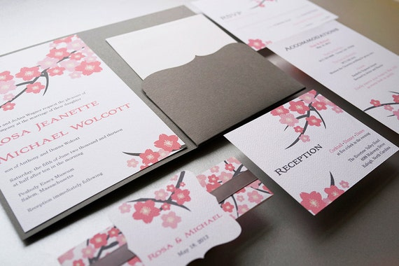 cherry blossom wedding invitation. cherry blossom wedding., Wedding invitations
