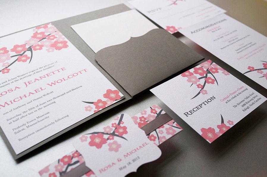 Wedding Invitation Cherry Blossom Pink by JutingDesignStudio