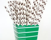 24 Football Paper Straws Paper Drinking Straws…Football Party / Tailgate / SuperBowl / Sports Events / Fast Shipping