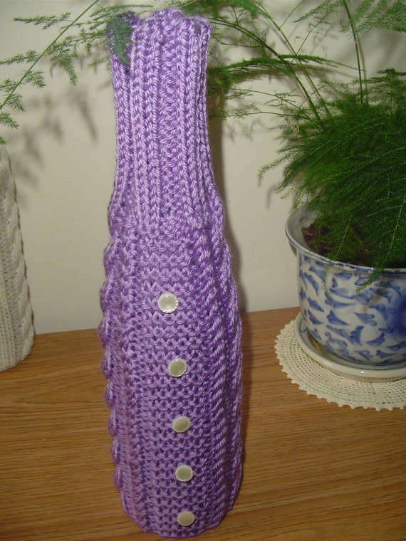 Wine Bottle Cozy Knitting Pattern : Wine Bottle Cozy Wine Bottle Coverlet Knit Wine by Ednascloset