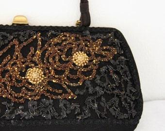 1960s Caron Purse Black Hand Decorated Beaded Long Flower Womens Vintage Handbag