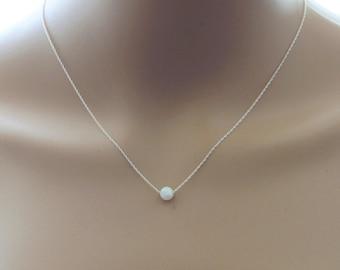 Floating Fire opal necklace, Single opal necklace, sterling silver, infinity opal necklace, Bridesmaid necklace, 14K gold fill opal necklace