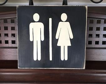 Universal Man and Woman Symbol LADIES GENTLEMEN Unisex Bathroom Restroom Locker Room Sign Wooden Hand Painted Chic Plaque YOU Pick Color