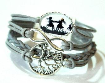 Eternity Infinity, Tree of life & Dancing sisters silhouette leather bracelet silvercolored - twin sister best friend besties gift jewelry
