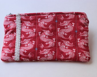 Dragons on Red Cotton Clutch (padded)