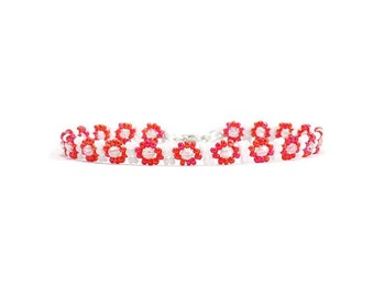 Red Foot Jewelry - Bead Ankle Bracelet - Seed Bead Anklet - Summer Beach Jewelry - Beaded Vacation Anklet