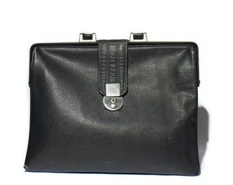1960's Black Pebbled Leather Attache Briefcase Portfolio Bag