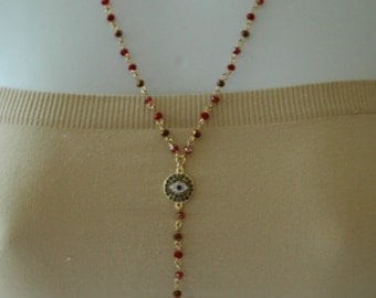 Evil Eye, Pave Hamsa and Evil Eye Necklace Lariat, Red link bead and evil eye charm, Gift for her