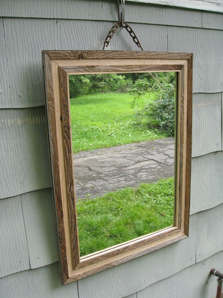 SOLD Large Primitive Rustic Barn Wood Mirror no.1522