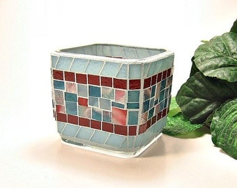 Stained glass mosaic votive candle holder teal blue red