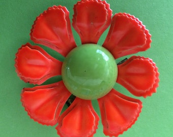 My Mothers 1960's Neon Enamel Flower Brooch