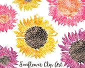 80% OFF SALE Watercolor Flower Clipart - Scrapbooking Instant Download Images - Sunflower Clipart Digital Clipart