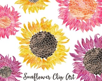 Watercolor Flower Clipart - Scrapbooking Instant Download Images - Sunflower Clipart Digital Clipart