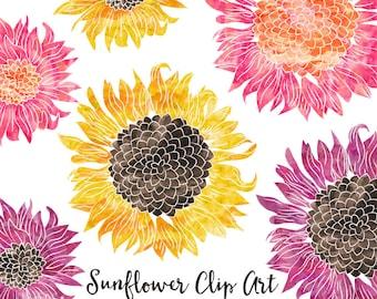 Watercolor Flower Clipart - Scrapbooking Instant Download Images - Sunflower Clipart Digital Clipart