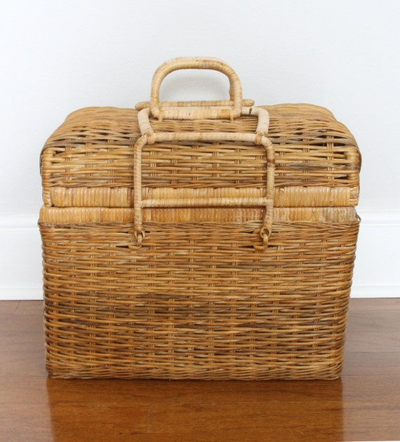 Extra Large Wicker Picnic Or Sewing Basket