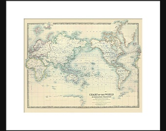 World Map of the Ocean Currents 1893 Print Poster