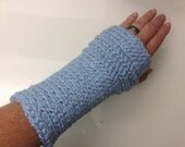 Writer's gloves in Blueberry Light Blue Organic Cotton -- for writing, yoga, iPhone