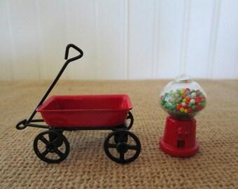 Miniature Red Metal Wagon and Glass Gum Ball Machine