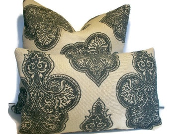 Teal Pillow Cover Dusty Teal Embroidered Pillow Teal Medallion Pillow Cover