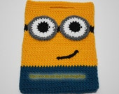 Crochet Minion Bag, Minions handbag, Halloween Candy Tote, Yellow Blue Pouch, Easter, Holiday, Tablet Bag