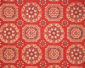 Vintage Wallpaper by the Yard 60s Retro Wallpaper - 1960s Red and Gold Geometric