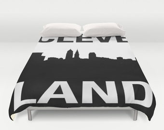 Cleveland Graphic Skyline Duvet Cover - Cle