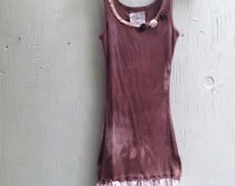 skinny fashion simple hand dyed brown mocha anthropologie like chocolate cotton lace awesome boho girl gypsy ooak tee tank top