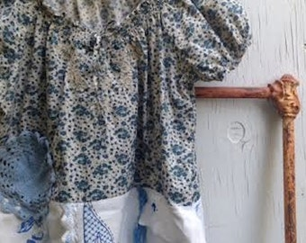spring barn blue peasant farmer prairie vintage linen cottage chic country boho gypsy shabby prairie fashion tunic shirt
