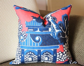 Designer cotton linen Pillow -Lee Jofa Willow Pattern Chinoiserie Pillow Cover, hot pink blue Pillow - Throw Pillow 320