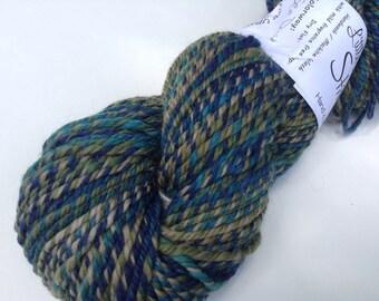 "Handspun Yarn, ""sea dive"", 4 oz, 175 yds, three ply"