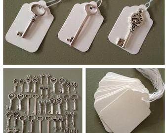 Keys to Happiness - 100 Antique Silver Skeleton Keys & 100 White Tags - Wedding Skeleton Keys, Favor Escort Card Vintage Keys Wedding Favors