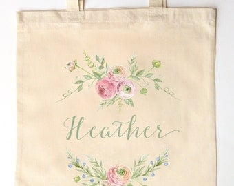Ranunulus and Roses Custom Printed Bridal Party - Bridesmaid, Flower Girl Tote Bag for Weddings - Calligraphy and Watercolor Florals
