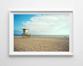 Newport Beach Lifeguard Tower - California Beach Home Decor, Pacific Ocean Art, Beach House Decor - Small and Oversized Art Prints Available