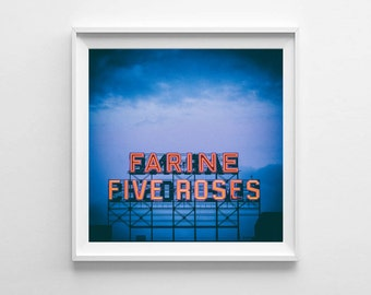 montreal art farine five roses blue wall art blue home decor city art small and oversized art prints available fits ikea ribba frames