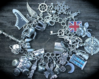 Ultimate Time Traveler Charm Bracelet - Doctor Bag - Police Box - British Flag - Rose - Telephone Booth - Science Fiction Jewelry