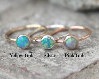 OPAL RING - October ring - pink gold opal ring - Opal Stacking ring ~ 6mm Opal ring - Gold Filled - opal ring - stacking gemstone ring