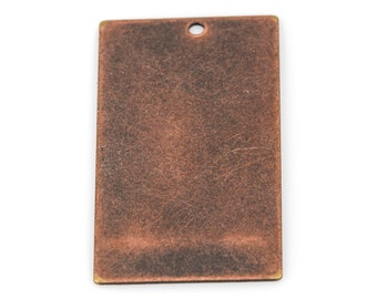 "10 Distressed Copper Stamping Blanks, Charms, LARGE RECTANGLE DISC shape 1-1/4"" x 3/4"", 24 gauge msb0287"