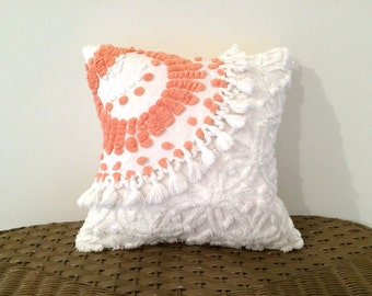 Decorative pillow cover CORAL CURVES cushion cover, 14 X 14 inches, orange pillow cover, cottage chic pillow case, chenille lumbar pillow