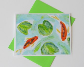 Koi Pond Notecard //  Watercolor Painting // Printed // Blank Note Card // Any Occasion
