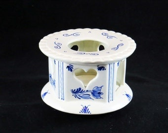 Vintage Ceramic BLUE DELFT CANDLE Warmer / Candle Holder / Holland-Netherlands / #5604-8 / A Great Housewarming Gift or Christmas Gift