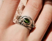 Queen Of Forest Cat Eye Tourmaline Silver Gold 18k Ring